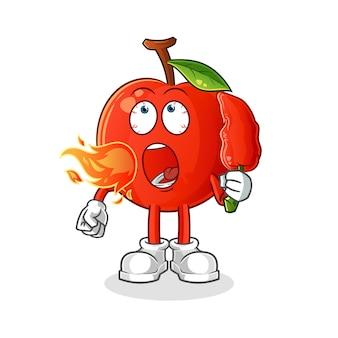 Wiśnia zjada gorącą maskotkę chilli. kreskówka