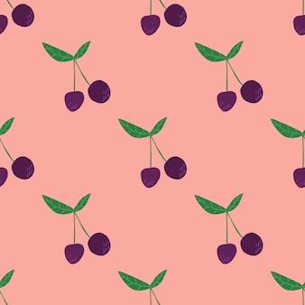 Wiśniowe jagody i liście wzór. letnie owoce jagodowe tapety. słodkie czerwone dojrzałe wiśnie na białym tle na różowym tle. ręcznie rysowane ilustracji wektorowych. projekt na tkaninę, nadruk na tekstyliach