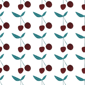 Wiśniowe jagody i liście wzór. letnie owoce jagodowe tapety. słodkie czerwone dojrzałe wiśnie na białym tle. projekt na tkaninę, nadruk na tekstyliach. ręcznie rysowane ilustracji wektorowych.
