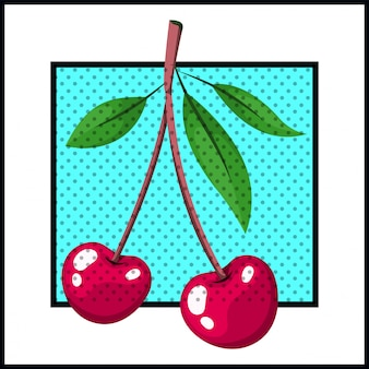 Wiśniowy owoc w stylu pop-artu