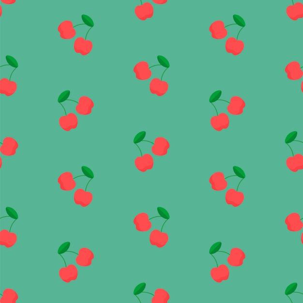 Wiśniowy wzór na zielono
