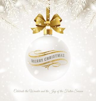 Wisząca biała bombka bożonarodzeniowa z brokatową złotą kokardką