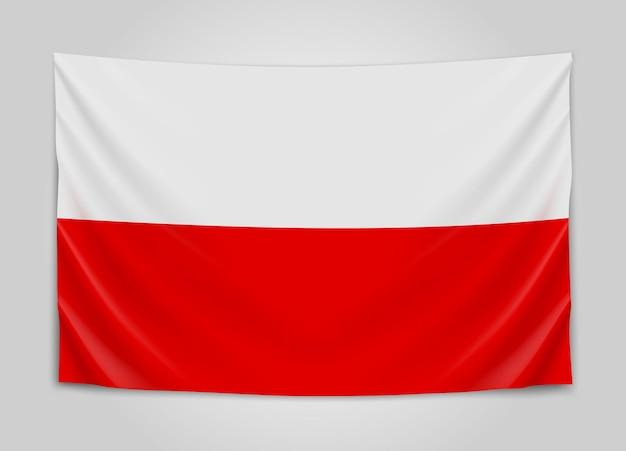 Wisząca flaga polski. rzeczpospolita polska. polskie