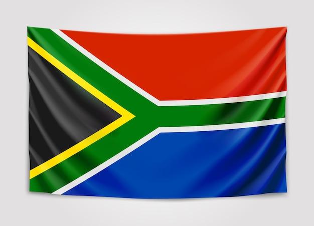 Wisząca flaga republiki południowej afryki. republika afryki południowej. flaga narodowa rpa.