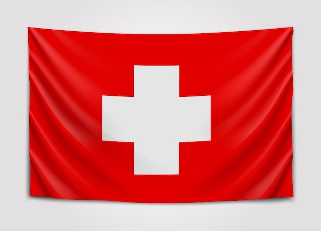 Wisząca flaga szwajcarii. konfederacja szwajcarska. flaga narodowa