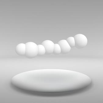 Wisząca kula z wielu mniejszych wielokątów w dużym pustym pokoju. przestrzeń wystawiennicza to abstrakcyjny obiekt o kulistym kształcie.