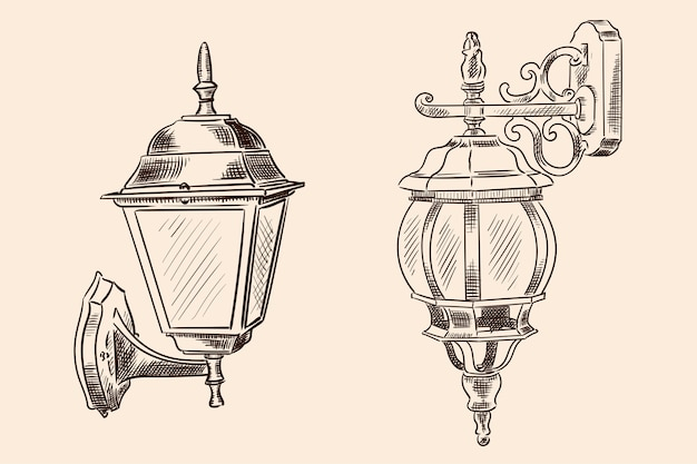 Wisząca lampa ścienna w stylu klasycznym do oświetlenia ulicznego. ręcznie robiony szkic na beżowym kolorze