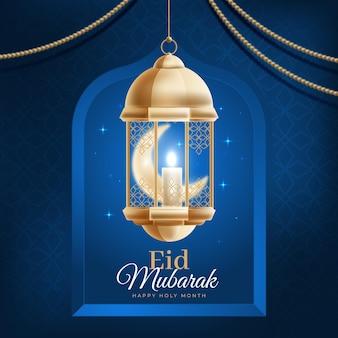 Wisząca latarnia arabska realistyczny eid mubarak