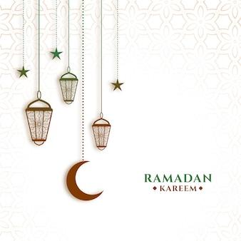 Wiszące lampiony i księżyc ramadan kareem tło