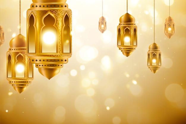 Wiszące lampiony na złotym błyszczącym tle