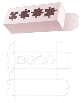 Wiszące opakowanie z szablonem wycinanym w kształcie 4 kawałków układanki