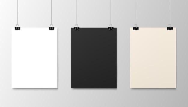 Wiszące papierowe plakaty makiety, realistyczne arkusze