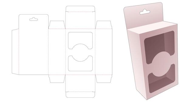 Wiszące proste pudełko z 2 oknami wycinanymi szablonami