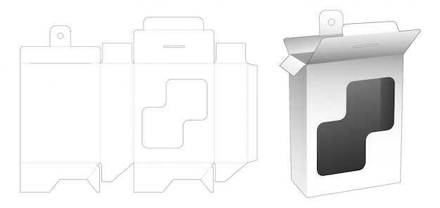 Wiszące prostokątne pudełko z prostokątnym wycinanym szablonem