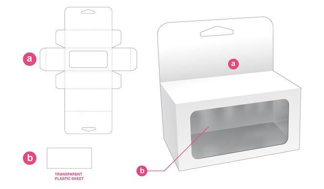 Wiszące pudełko na zabawki z prostokątnym szablonem wycinanym z okienkiem