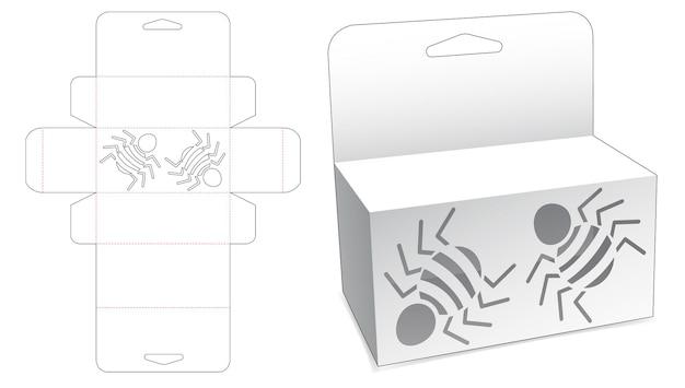 Wiszące pudełko z szablonem wycinanym w pająki