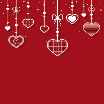 Wiszące serca czerwone tło wektor