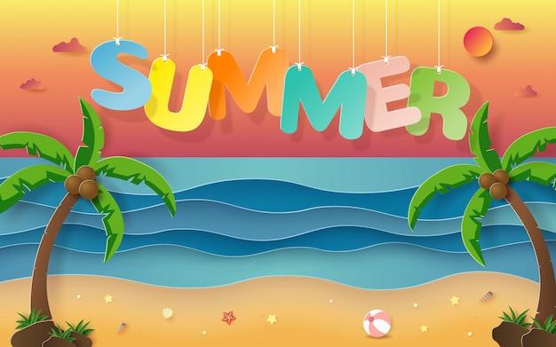 Wiszące słowo lato z tłem tropikalnej plaży