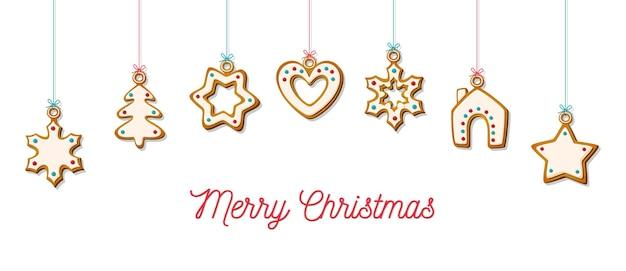 Wiszące świąteczne pierniki. domowe ciasteczka w kształcie domu i choinki, gwiazdy i płatka śniegu i serca na uroczysty tło i poziomy baner internetowy. ilustracja wektorowa