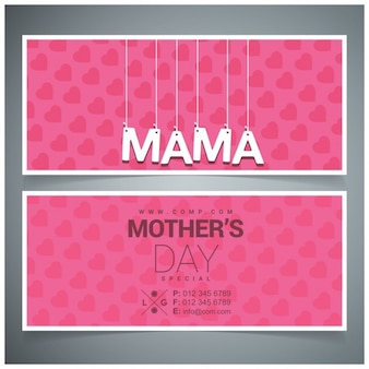 Wiszące typografii mama banery