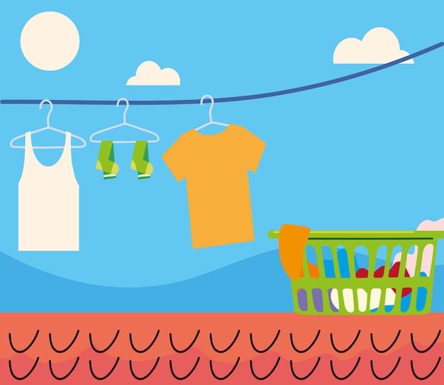 Wiszące ubrania na linie