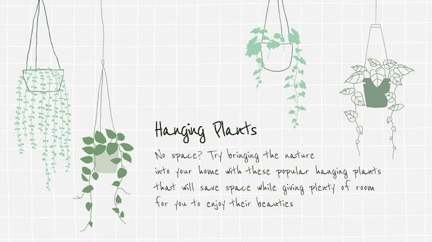 Wiszące wprowadzenie rośliny do nowego szablonu wektora rodzicielskiego rośliny