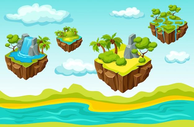 Wiszące wyspy szablon izometryczny poziomu gry