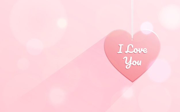 Wiszący kształt serca ze słowem kocham cię