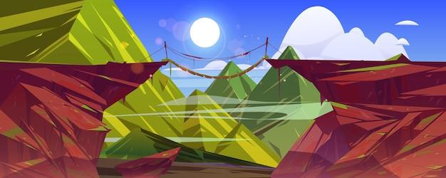 Wiszący most wisi nad stromym górskim klifem