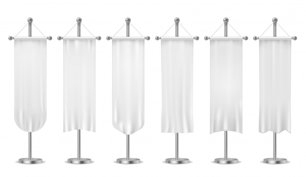 Wiszący proporczyk. puste banery z białymi proporczykami, sportowe tekstylne flagi reklamowe, pionowe płótno na makietach masztów