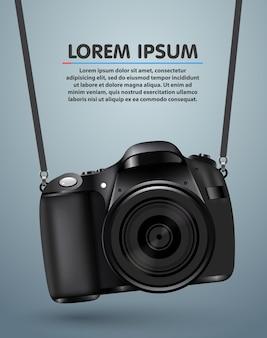 Wiszący realistyczny aparat fotograficzny. profesjonalne tło studio fotograficzne.