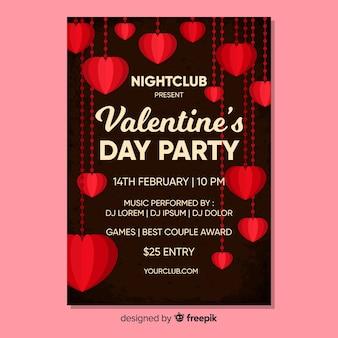 Wiszący serca valentine party plakat