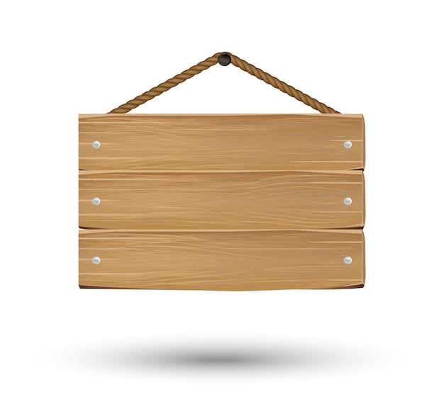 Wiszący znak pokładzie drewna na białym tle
