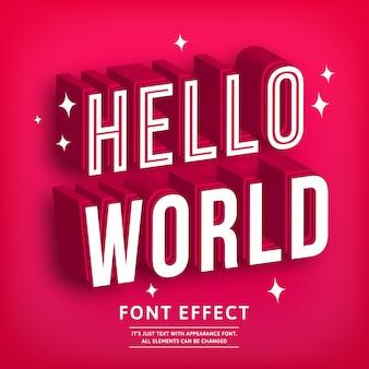 Witaj 3d pogrubiony typograficzny efekt tekstu premium