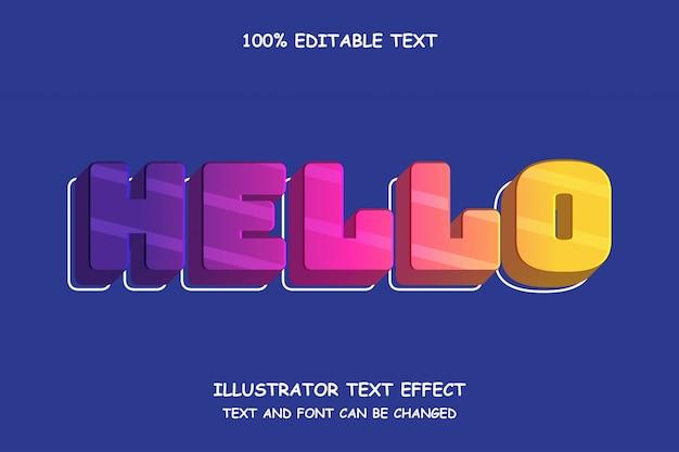 Witaj, edytowalny tekstowy efekt świetlny w stylu 3d