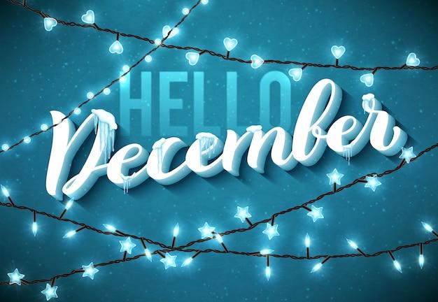 Witaj grudniu plakat z realistycznymi, soplami i świątecznymi błyszczącymi światłami