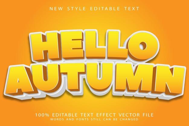 Witaj jesień edytowalny efekt tekstu nowoczesny
