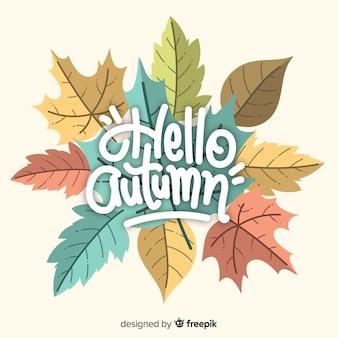 Witaj jesień napis z liśćmi