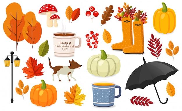 Witaj jesień, płaski zestaw elementów jesiennych, kolorowe liście, dynia, filiżanka herbaty, jesienne buty, parasol, pies, grzyby i latarnia uliczna