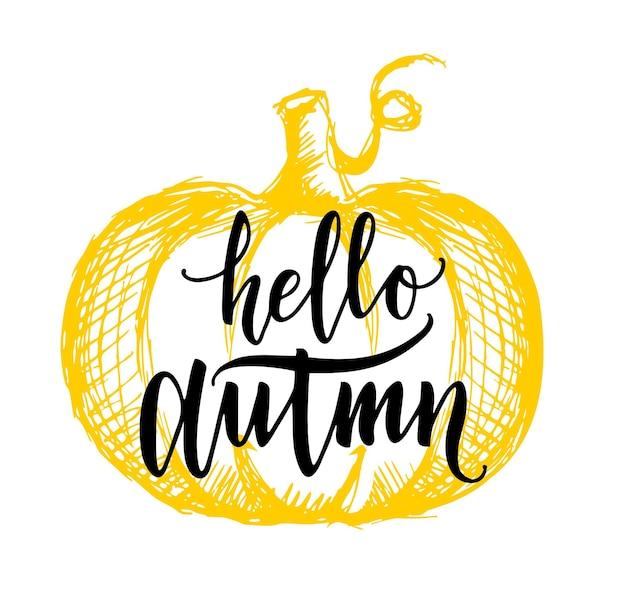 Witaj jesień szablon projektu z pomarańczowym tłem dyniowym napisem witaj jesień