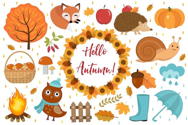 Witaj jesień zestaw płaski lub w stylu kreskówkowym. elementy projektu kolekcji z liści, drzew, grzybów, dyni, dzikich zwierząt, parasola i butów. na białym tle ilustracji wektorowych.