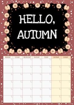 Witaj, jesieni. kalendarz miesięczny tablica z elementami przeciętymi na pół jabłka.