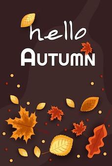 Witaj, jesieni. koncepcja jesienna reklama. ilustracja na tle jesiennych liści.