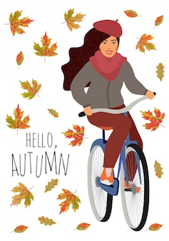 Witaj, jesieni. młoda dziewczyna jedzie na rowerze przed spadającymi liśćmi klonu i dębu. śliczna wektorowa pociągany ręcznie kreskówki ilustracja