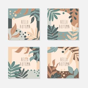 Witaj, jesieni. streszczenie liście sztuki. zestaw kwadratowych pocztówek w pastelowych kolorach. jesienne liście i elementy wystroju. ilustracja wektorowa