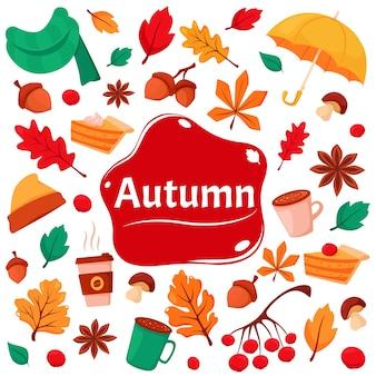 Witaj, jesieni. zestaw jesiennych elementów żołędzie, filiżanka kawy, jesienne liście, jarzębina, kalina, szalik, ciasto dyniowe.
