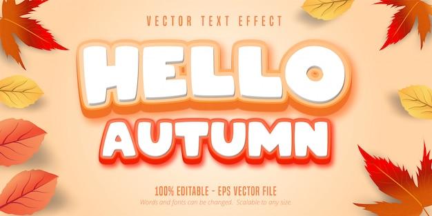 Witaj jesienny tekst, edytowalny efekt tekstowy w stylu jesieni