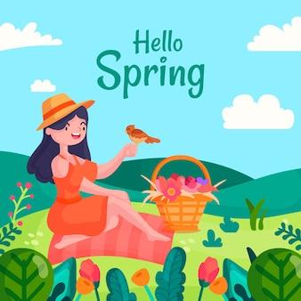 Witaj koncepcja wiosny z kobietą