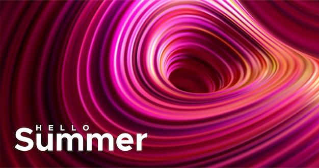 Witaj lato. abstrakcjonistyczny tło z dynamicznymi 3d sferami. płynące żółte bąbelki ze znakiem papieru. ilustracja