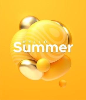Witaj lato. abstrakcyjne tło. dynamiczne kule 3d. płynące żółte i złote bąbelki ze znakiem papieru. gromada cząstek ilustracja błyszczących miękkich kulek.